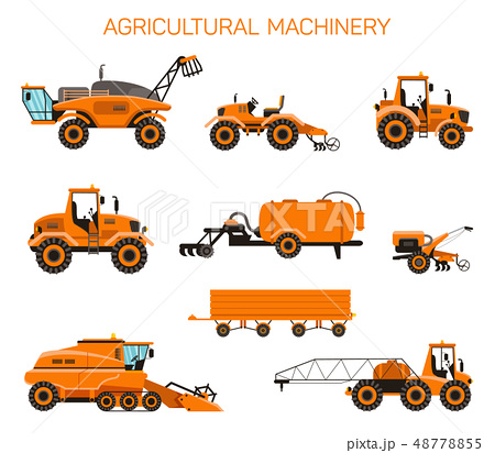 Flat Vector Modern Set Agricultural Machinery. 48778855