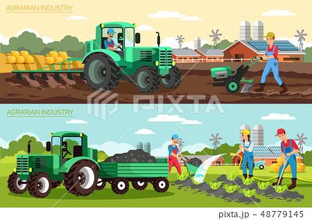Horizontal Flat Banner Agrarian Industry Set. 48779145