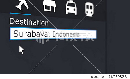 Buying airplane ticket to Surabaya online. Travelling to Indonesia conceptual 3D rendering 48779328