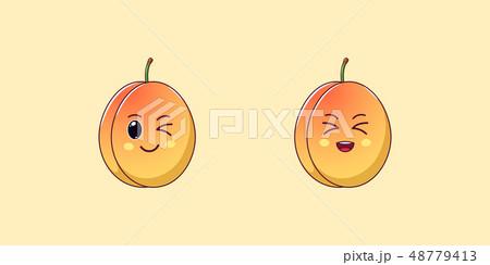 Cute Kawaii Apricot, Cartoon Ripe Fruit. Vector 48779413