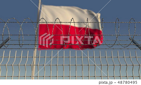 Blurred waving flag of Poland behind barbed wire fence. 3D rendering 48780495