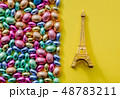 color Chocolate Easter eggs and Eiffel tower souvenir  48783211