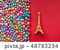 color Chocolate Easter eggs and Eiffel tower souvenir  48783234