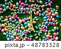 color Chocolate Easter eggs and Golden Eiffel tower souvenir 48783328
