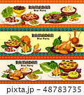 Ramadan iftar meat and fish dishes with dessert 48783735