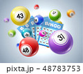 Lotto balls and lottery tickets with numbers 48783753