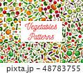 Fresh vegetables seamless pattern set 48783755