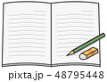 ノートブック 鉛筆 消しゴムのイラスト 48795448