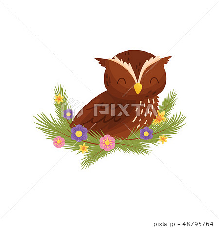 Owl bird with closed eyes sitting on branch. 48795764