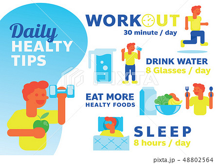 daily healthy tips illustration with man character 48802564
