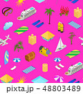 Cruise Ships Travel and Tourism Concept Seamless Pattern Background 3d Isometric View. Vector 48803489
