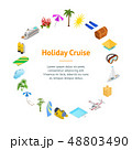 Cruise Ships Travel and Tourism Concept Banner Card Circle 3d Isometric View. Vector 48803490