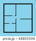 Apartment Floor Plan Top View Black Thin Line . Vector 48803500