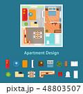 Cartoon Apartment Floor Plan Top View and Elements. Vector 48803507
