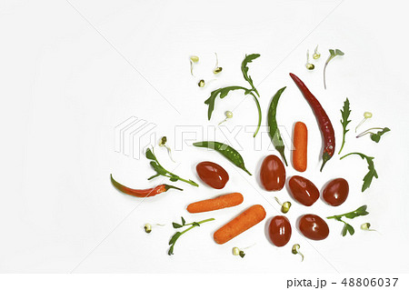 Healthy diet fresh vegetables flat lay isolated on white. Tomato, bell-pepper, cucumber, ruccola 48806037