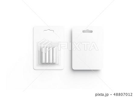 Blank white battery in cardboard pack mockup,  48807012