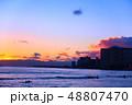 ハワイ ワイキキ 夕日の写真 48807470