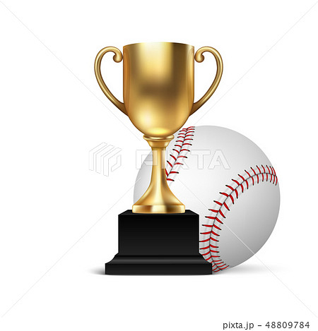 Realistic Vector 3d Blank Golden Champion Cup Icon wirh Baseball Set Closeup Isolated on White 48809784