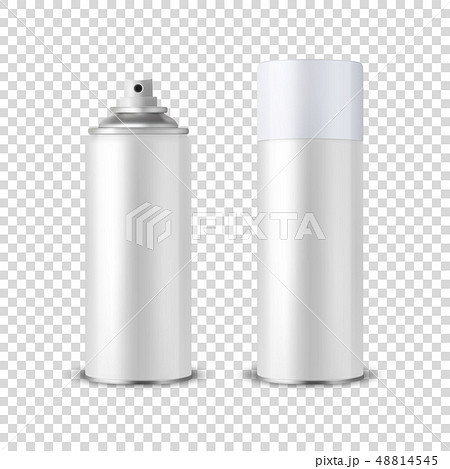 Vector 3d Realistic White Blank Spray Can, Spray Bottle with Cap Closeup Isolated on Transparent 48814545