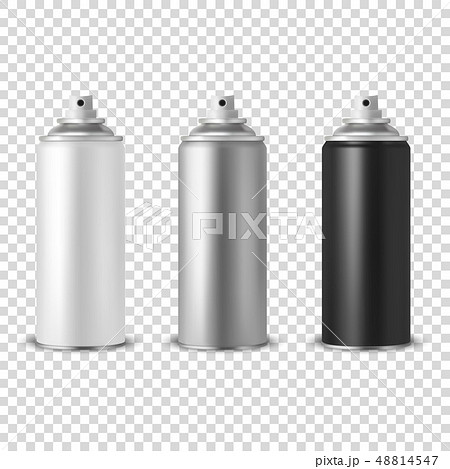 Vector 3d Realistic White Blank Spray Can, bottle Icon Set Closeup Isolated on Transparent 48814547