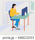 office lady working illustration 48822033