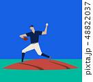ベースボール 野球 ピッチャーのイラスト 48822037