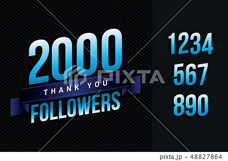 2000 followers thank you illustration for social network friends, followers, web user. Greeting card 48827864