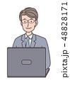 ビジネスマン パソコン ノートパソコンのイラスト 48828171