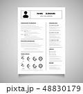 Modern resume cv form of black color vector. You 48830179