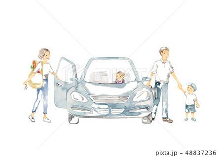 車でおでかけ、家族の休日、ショッピング 48837236