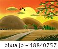 田舎と夕焼けと柿の木 48840757