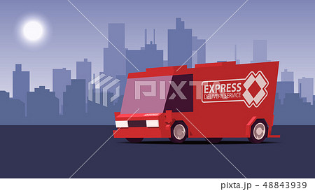 Red Delivery Truck on City Landscape Background. IsoFlat Styled Vector Illustration. 48843939