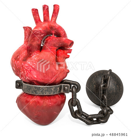 Heart Pain concept. Human heart with shackle 48845961