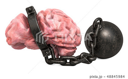 Brain with shackle, 3D rendering 48845984
