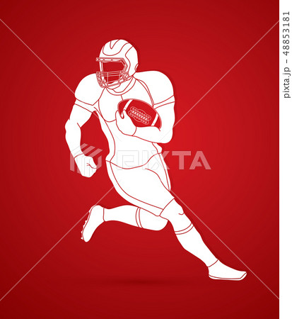 American football player, Sportsman action vector 48853181
