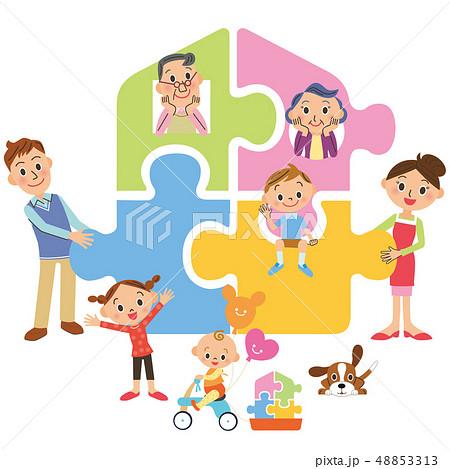 家を作る三世代家族 48853313
