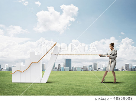 Businesswoman pulling graph with rope as concept of power and control 48859008