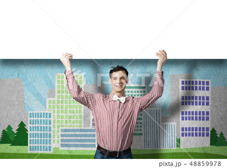 Cheerful man with banner 48859978