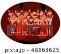 フェス観客前列18人黒丸枠 48863625