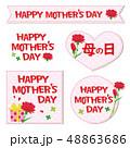 母の日 カーネーション ワッペンのイラスト 48863686