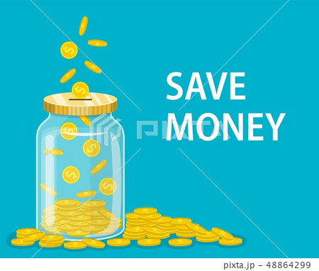 Money Jar. Saving dollar coin in jar. 48864299