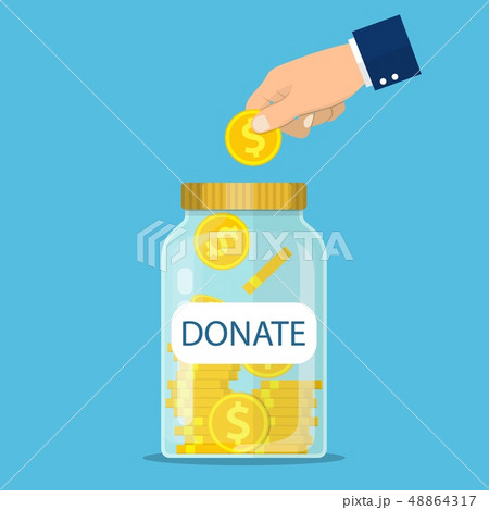 Glass jar for making donations and coin in hand 48864317