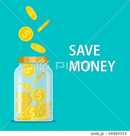 Money Jar. Saving dollar coin in jar. 48864354