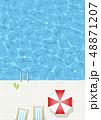 プール-夏-タイル-プールサイド-バカンス-パラソル 48871207