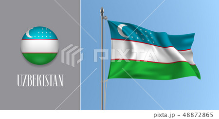 Uzbekistan waving flag on flagpole in vector 48872865