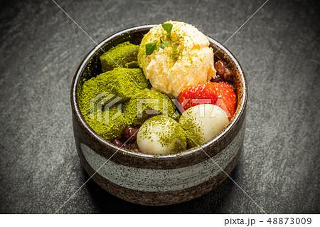 抹茶寒天アイスクリーム Japanese foods green tea agar ice 48873009