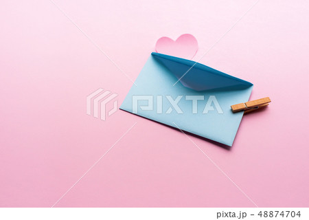 Blue letter with pink heart cartoon style from 48874704
