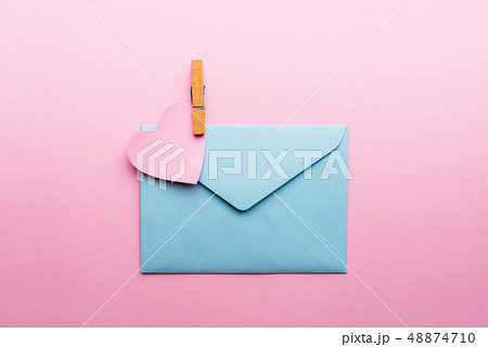 Blue letter with pink heart cartoon style from 48874710