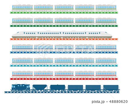 鉄道・電車のイラスト、アイコン|JR各社のイメージカラーの通勤型電車と新幹線、貨物列車 48880620