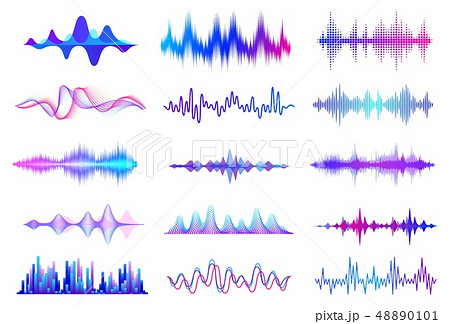 Sound waves. Frequency audio waveform, music wave HUD interface elements, voice graph signal. Vector 48890101